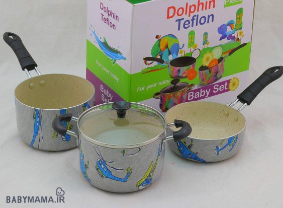 سرویس قابلمه تفلون چاپی دکورال ۴ پارچه دلفین
