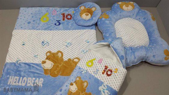 سرویس خواب مخمل نوزادی ۴ تیکه مدل خرس بادی