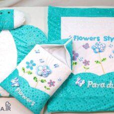 سرویس خواب مخمل ۴ تیکه نوزادی paradise مدل Flowers