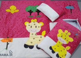 سرویس خواب مخمل 4 تیکه کودک مدل زرافه