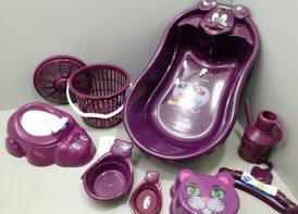 سرویس پلاستیک وان حمام ۹ پارچه تاتیا بادمجانی