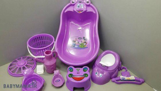 سرویس پلاستیک وان حمام ۹ پارچه تاتیا بنفش