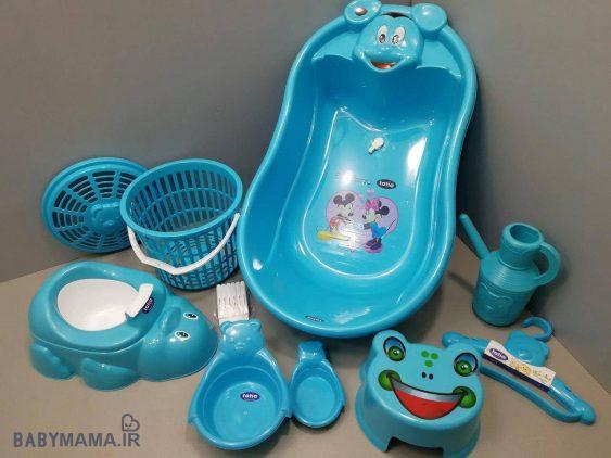 سرویس پلاستیک وان حمام ۹ پارچه تاتیا فیروزهای