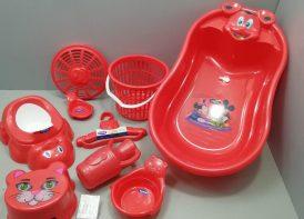 سرویس پلاستیک وان حمام ۹ پارچه تاتیا قرمز