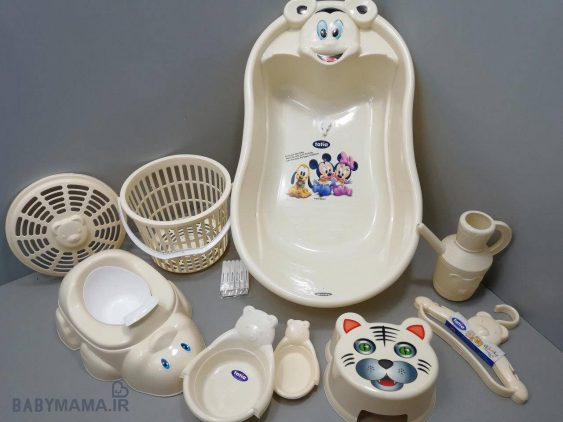 سرویس پلاستیک وان حمام ۹ پارچه تاتیا کرم