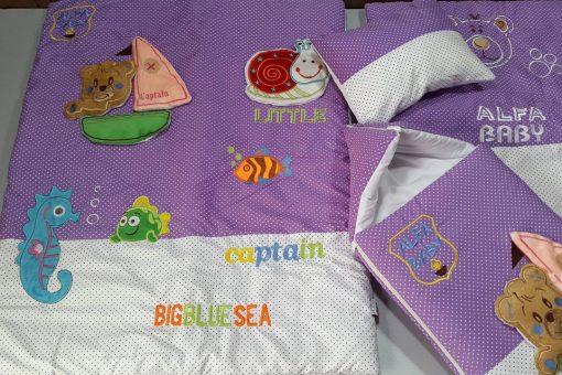 سرویس خواب ترگال با گلدوزی برجسته خرس قایقران 4 تیکه با کیسه خواب