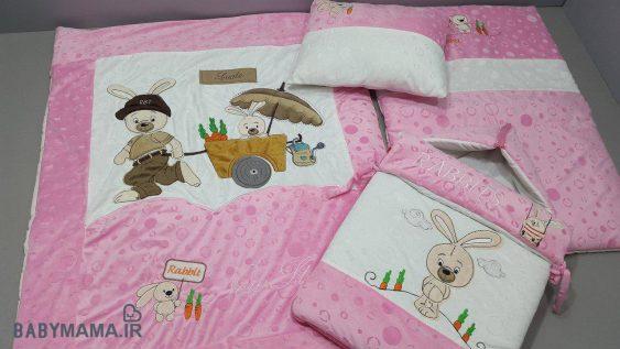 سرویس خواب مخمل 4 تیکه کودک مدل خرگوش و گاری