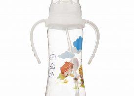 شیشه شیر اتومات ضدنفخ دسته دار ۲۴۰ میلی لیتری بیبی لند مدل ۳۵۸