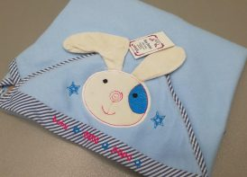 پتو فوتر عروسکی خرگوش ماما پاپا آبی روشن