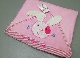 پتو فوتر عروسکی خرگوش ماما پاپا صورتی
