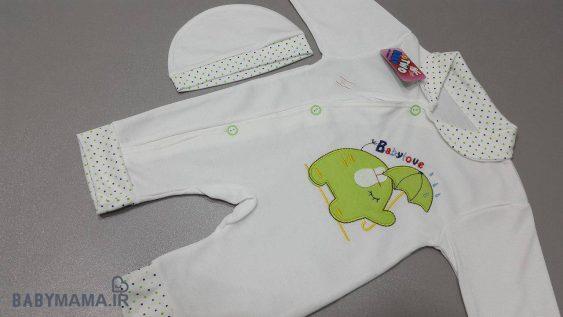 سرهم نوزادی نخی با کلاه مدل فیل