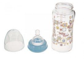 شیشه شیر پیرکس مایکروفر ۲۴۰ میلی لیتری بیبی لند ۴۶۲آبی