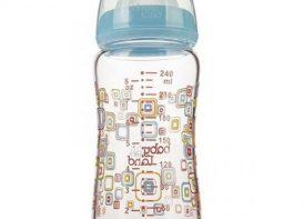 شیشه شیر پیرکس مایکروفر ۲۴۰ میلی لیتری بیبی لند ۴۶۲آبی۲