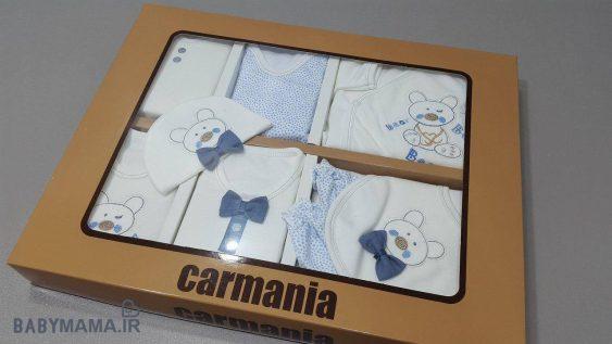 ۱۹ تیکه نوزادی پنبه گلدوزی کارمانیا مدل خرس آبی
