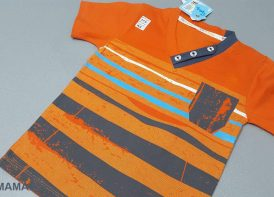 تی شرت یقه هفت سه دکمه پسرانه راه راه PMT