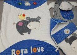 سرویس خواب مخمل 4 تیکه نوزادی مدل اسب آبی