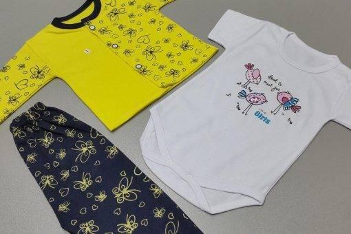سه تیکه پنبه دخترانه تن آذین مدل پروانه زرد