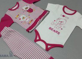 سه تیکه کودک پنبه مدل راه راه Bears
