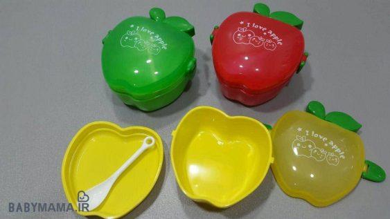 ظرف غذای سه تیکه کودک مدل سیب