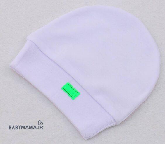 کلاه نوزادی سفید پنبه گرد ساده PF kids (1)