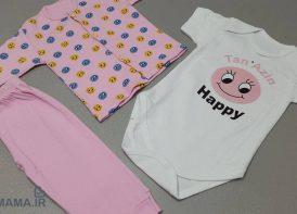 سه تیکه پنبه نوزادی پسرانه مدل Sticker