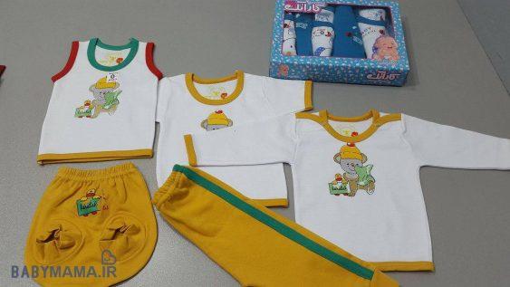 ۵ تیکه پنبه ای نوزادی کاراتک مدل اردک زرد
