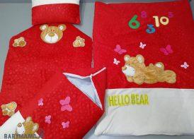 سرویس خواب مخمل ۴ تیکه نوزادی مدل Hello bear