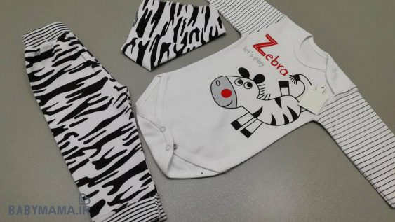 سه تیکه پنبه نوزادی مدل Zebra