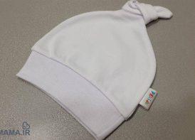 کلاه نوزادی مایسا مدل گره ای سفید