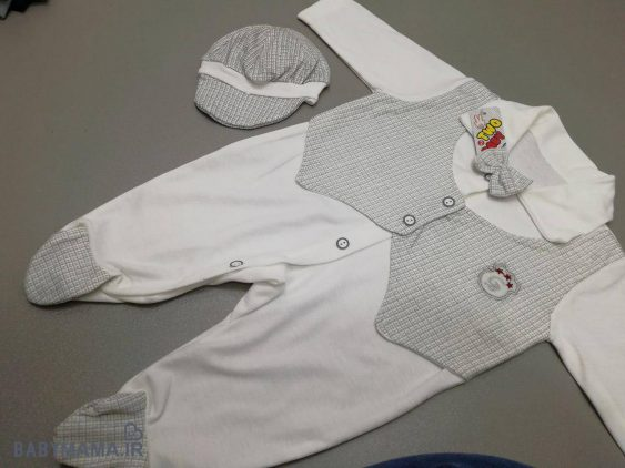 سرهمی نوزادی کلاهدار مدل پاپیون