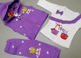 سه تیکه نوزادی دخترانه کاراتک مدل Meow