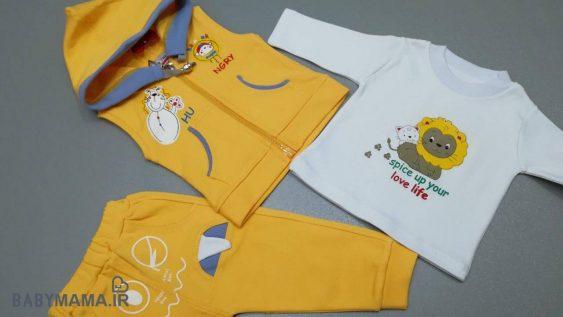 سه تیکه نوزادی پسرانه کاراتک مدل شیر  