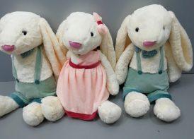 عروسک خرگوش جلی کت لباس دار 50 سانتی متری