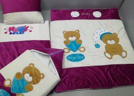 سرویس خواب مخمل ۴ تیکه نوزادی مدل دو خرس و قلب