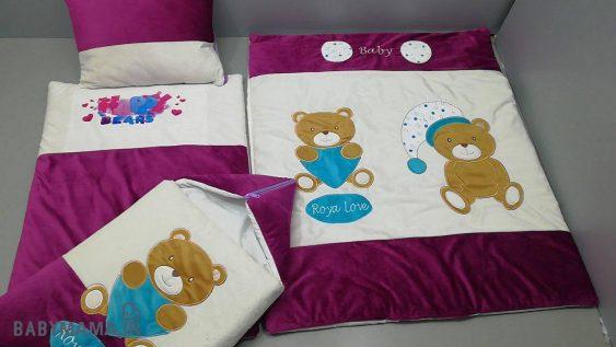سرویس خواب مخمل ۴ تیکه نوزادی مدل دو خرس و قلب |