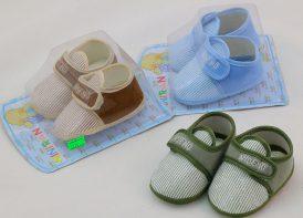 پاپوش نوزادی چسبی مدل راه راه