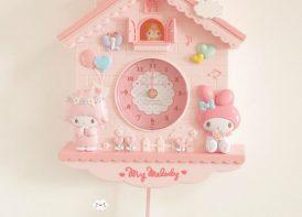 ساعت دیوار پاندول دار پرنسس صورتی مدل کلبه