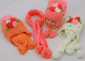 شال و کلاه کودک مدل نگین گلدار