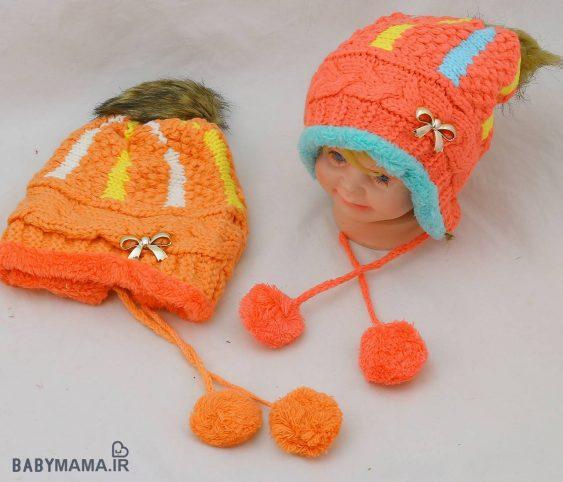 کلاه زمستانی بافت تو خزه مدل پاپیون طلایی