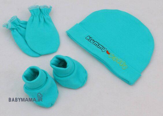 ست کلاه، پاپوش و دستکش ردپا مدل Mommy Daddy