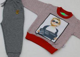 ست بلوز راه راه و شلوار خاویاری کودک مدل سه بعدی