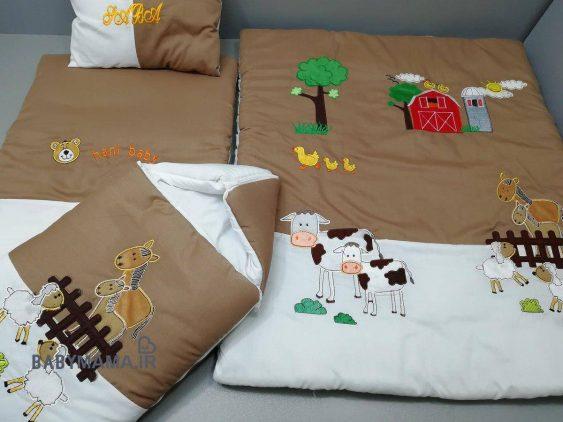 ست خواب تترون 4 تیکه نوزادی مدل مزرعه