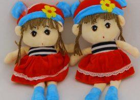 عروسک دختر مدل کلاه گوش دار 30 سانتی متری