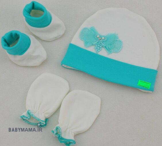 ست کلاه، جوراب و دستکش ردپا مدل مدل پاپیون