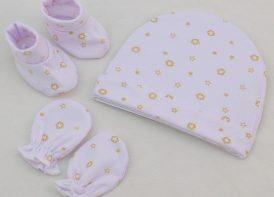 ست کلاه، دستکش و پاپوش نوزادی مدل ستاره
