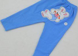شلوار پنبه گلدوزی آبی مدل خرگوش