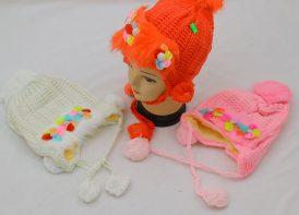 کلاه بافت آستر دار کودک مدل گلدار