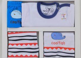 ست ۵ تیکه نوزادی پنبه کاراتک مدل CoolFish (1)