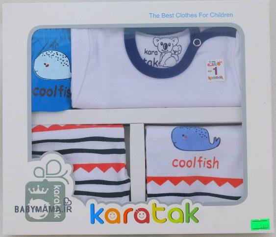 ست ۵ تیکه نوزادی پنبه کاراتک مدل CoolFish (2)