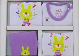 ست ۵ تیکه نوزادی پنبه کاراتک مدل Rabbit